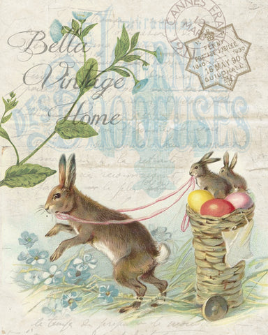 Mr. Rabbit  with Basket Cart  Print,  Pillow, Note Cards, Tea Towel