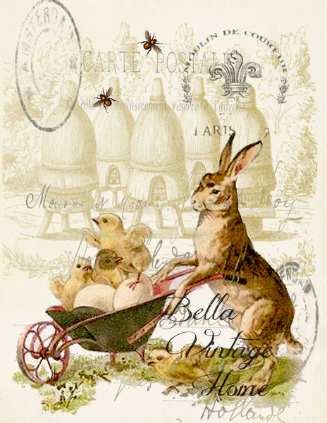 Rabbit with Wheel barrel Print, Pillow, Note Cards, Tea Towel, Digital Download - BELLAVINTAGEHOME