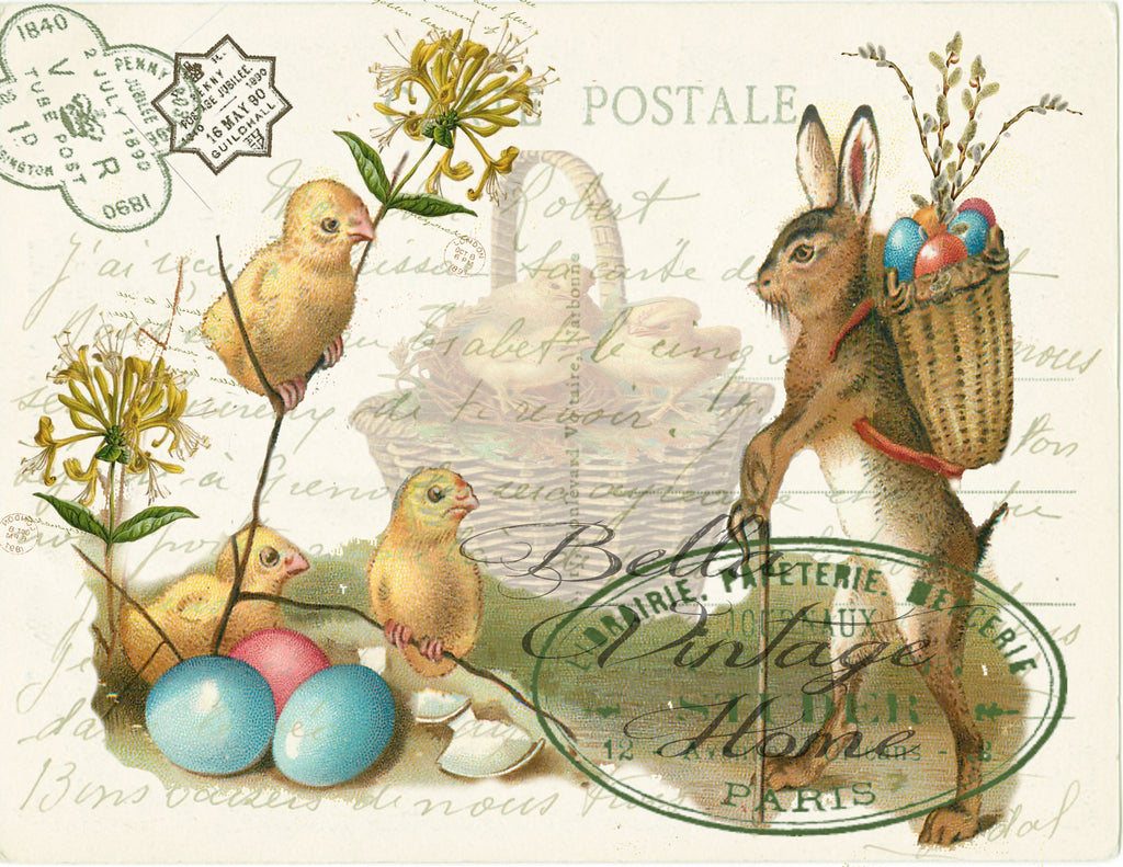 Rabbit and Chicks  Print, Pillow, Note Cards, Tea Towel, Digital Download - BELLAVINTAGEHOME