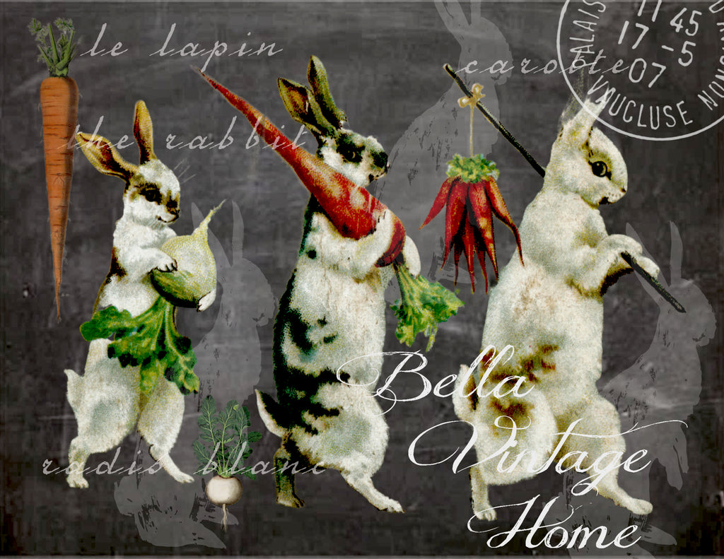 Rabbits with Carrots  Print, Pillow, Note Cards, Tea Towel, Digital Download - BELLAVINTAGEHOME