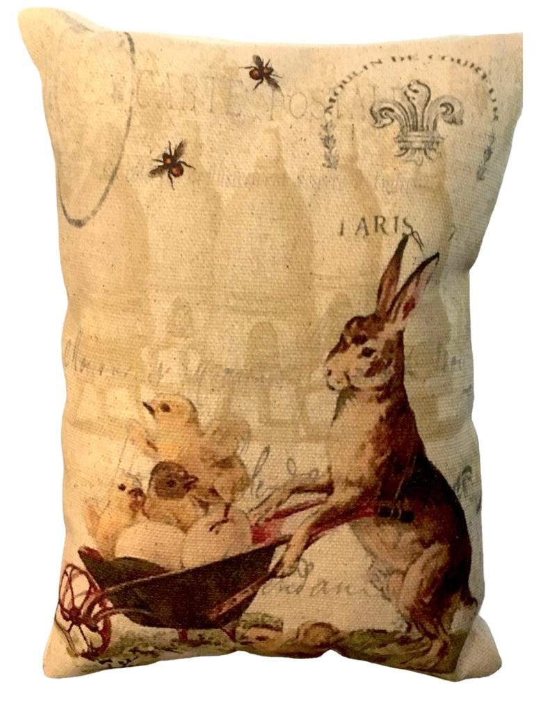 Rabbit with Whellbarrel Accent Pillow - BELLAVINTAGEHOME