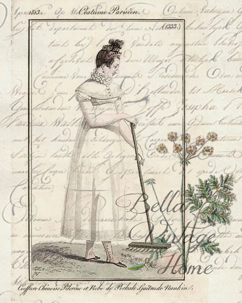 Botanical Garden Girl 3 Print, Pillow, Note Cards, Tea Towel, Digital Download - BELLAVINTAGEHOME