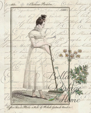 Botanical Garden Girl 3 Print, Pillow, Note Cards, Tea Towel