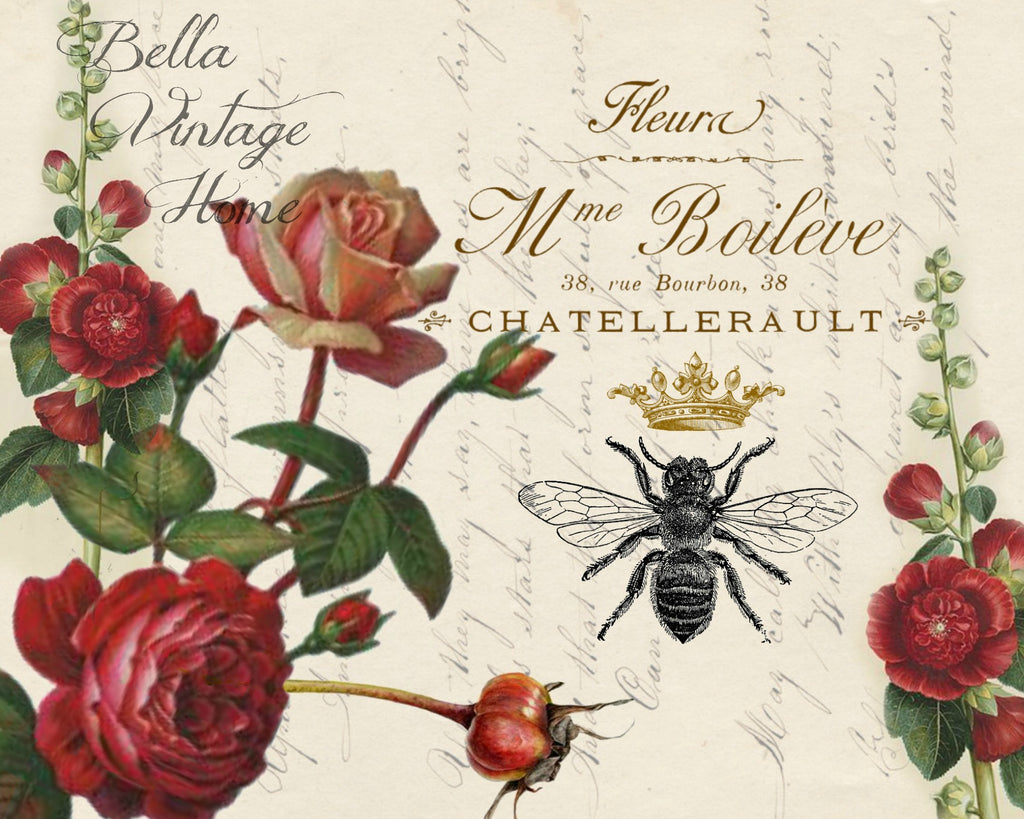 Red Roses and Bee Print,  Pillow, Note Cards, Tea Towel, Digital Download - BELLAVINTAGEHOME