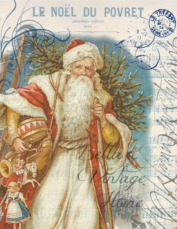 Vintage Art Collection Paper  Christmas Red Father Christmas  Print,  Pillow, Note Cards