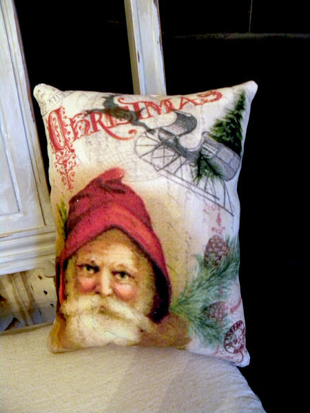 Paper  Christmas Santa and Sleigh Print,  Pillow, Note Cards