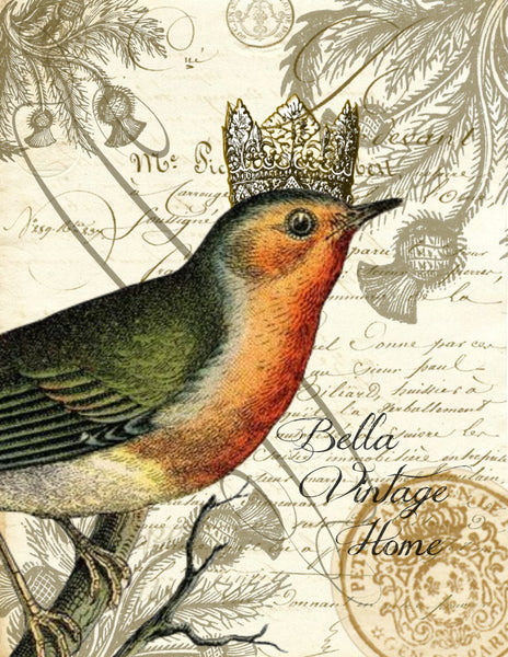 Botanical Robin with crown Print, Pillow, Note Cards, Tea Towel, Digital Download - BELLAVINTAGEHOME