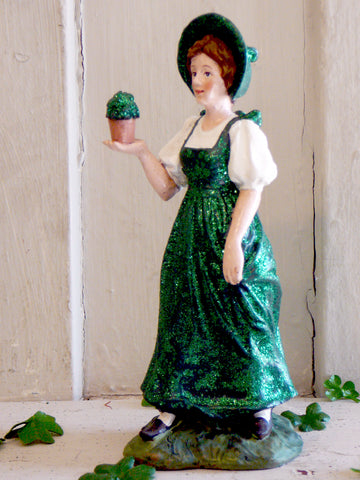 Irish Lass with Shamrock Pot