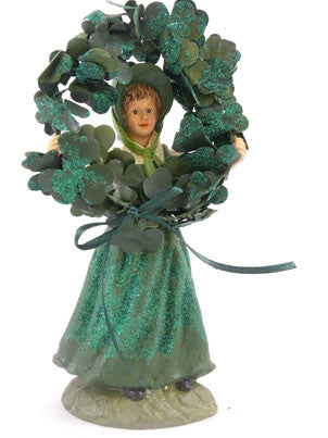 St Patrick's Girl with shamrock Wreath - BELLAVINTAGEHOME