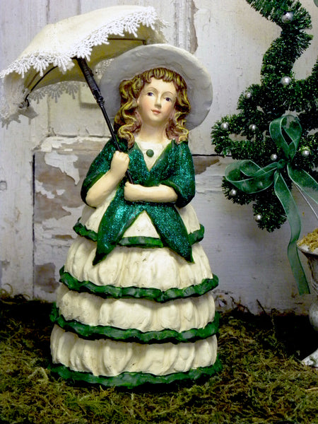 Vintage St Patrick's Lady with Umbrella - BELLAVINTAGEHOME