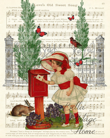 Sending Valentine Wishes Print, Pillow,Note Cards, Tea Towel - BELLAVINTAGEHOME