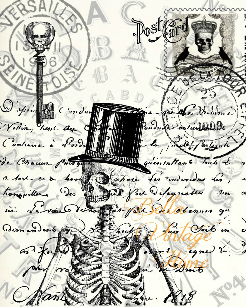 Gothic Skeleton Postcard Print,  Pillow, Note Cards