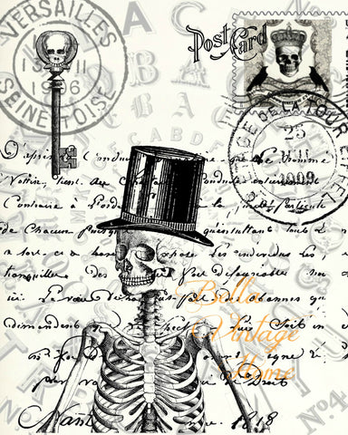Gothic Skeleton Postcard Print,  Pillow, Note Cards, Tea Towel, Digital Download - BELLAVINTAGEHOME