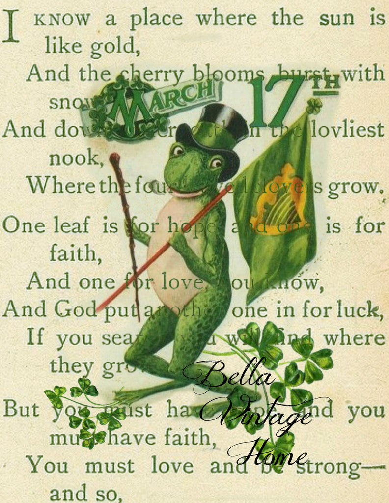 St Patty's Frog Print, Pillow, Note Cards, Tea Towel, Digital Download - BELLAVINTAGEHOME