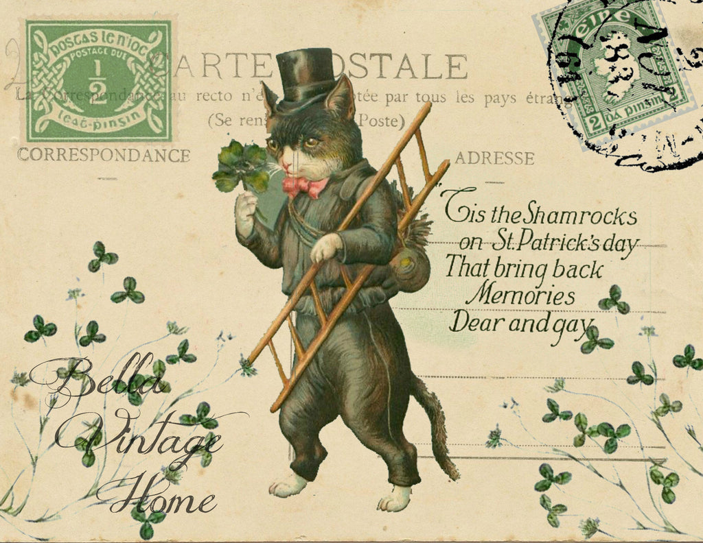 St Patty's Kitty Irish TalesPrint, Pillow, Note Cards, Tea Towel - BELLAVINTAGEHOME
