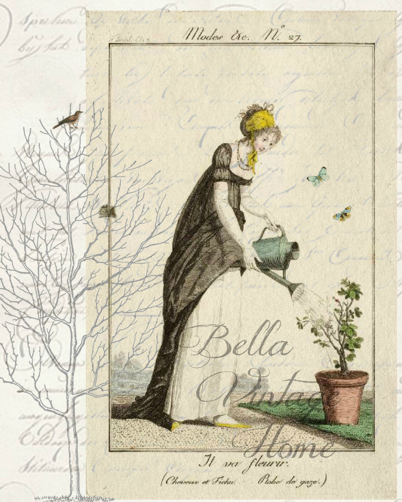 Botanical Garden Girl 2 Print, Pillow, Note Cards, Tea Towel, Digital Download - BELLAVINTAGEHOME