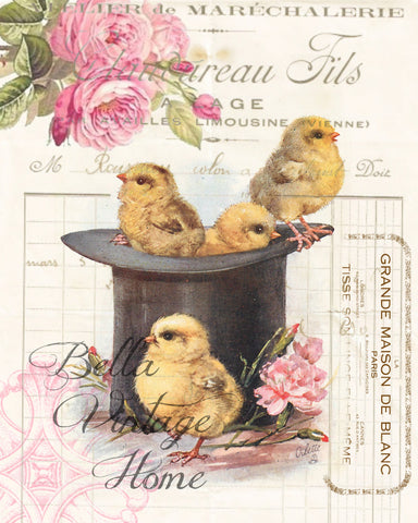Top Hat Chicks Chicks Print,  Pillow, Note Cards