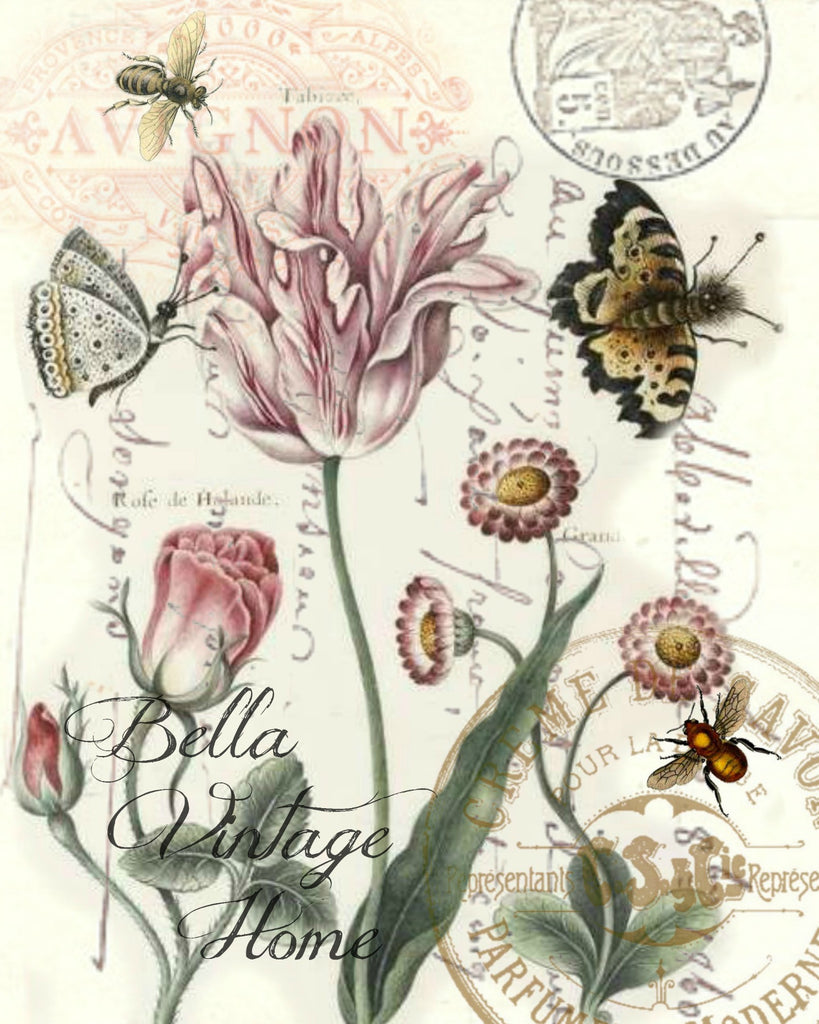 Tulips and  Butterflies Print,  Pillow, Note Cards, Tea Towel, Digital Download - BELLAVINTAGEHOME