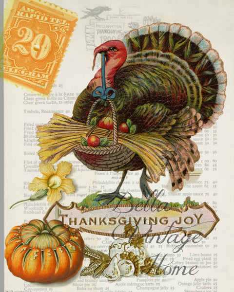 Thanksgiving Turkey Print,  Pillow, Note Cards, Tea Towel, Digital Download - BELLAVINTAGEHOME