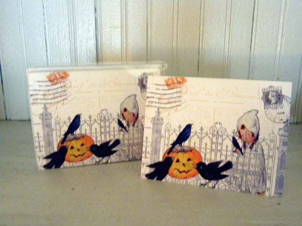 Ghost and Crows Print,  Pillow, Note Cards