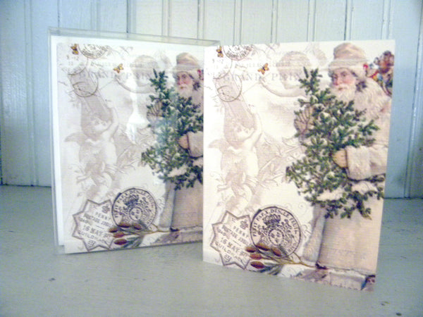 Vintage Art Collection Paper  Christmas Santa with Angels Print,  Pillow, Note Cards, Tea Towel, Digital Download - BELLAVINTAGEHOME