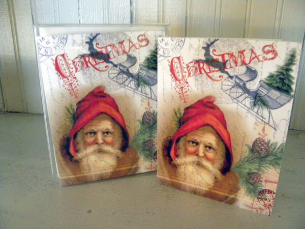 Vintage Art Collection Paper  Christmas Santa and Sleigh Print,  Pillow, Note Cards, Tea Towel, Digital Download - BELLAVINTAGEHOME
