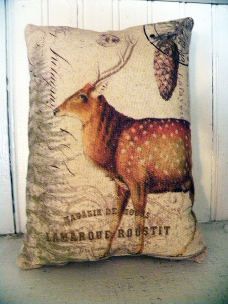 Vintage Art Collection Paper  Christmas Deer Print,  Pillow, Note Cards, Tea Towel, Digital Download - BELLAVINTAGEHOME