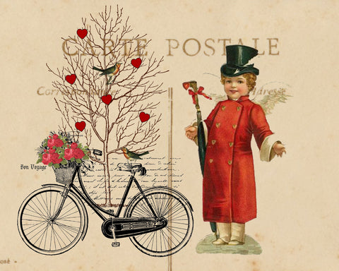 Valentine Bicycle  Print, Pillow, Notecards, Tea Towel - BELLAVINTAGEHOME