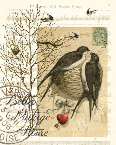 Valentine Swallows Print, Pillow, Notecards, Tea Towel, Digital Download - BELLAVINTAGEHOME