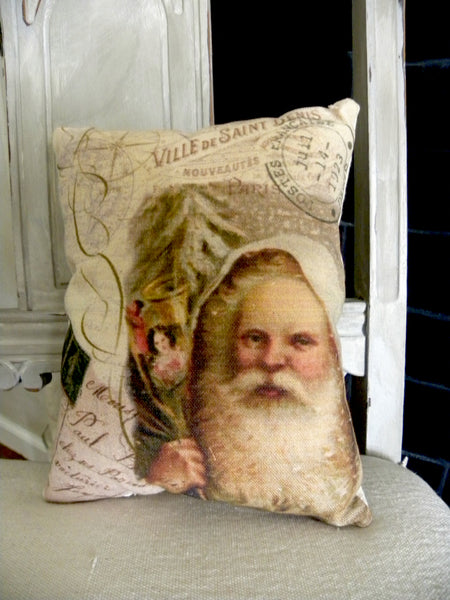 Vintage Art Collection Paper  Christmas Ivory Santa Print,  Pillow, Note Cards, Tea Towel, Digital Download - BELLAVINTAGEHOME