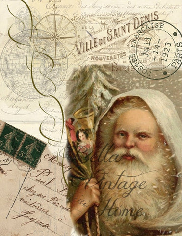 Vintage Art Collection Paper  Christmas Ivory Santa Print,  Pillow, Note Cards, Tea Towel - BELLAVINTAGEHOME