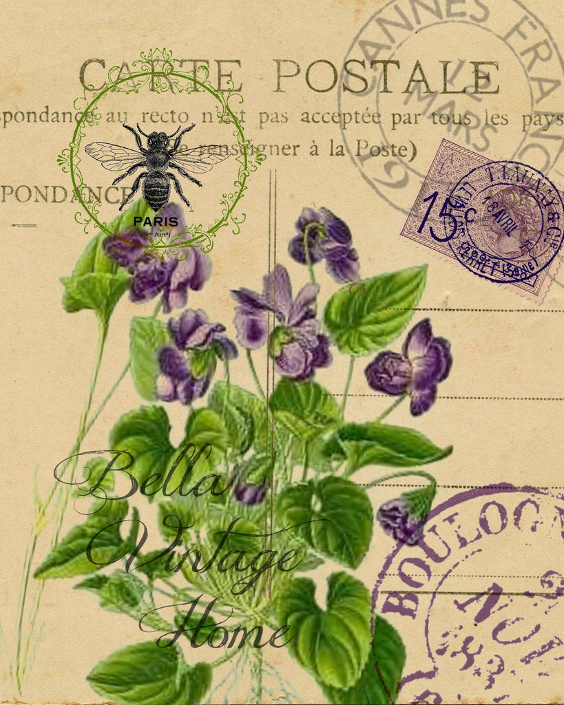 Botanical Violet Carte Postale Print,  Pillow, Note Cards, Tea Towel