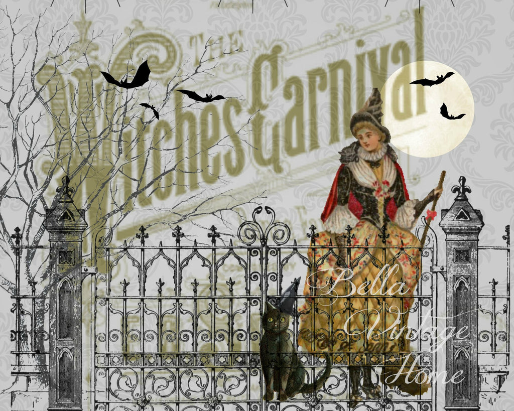 Halloween Witches Carnival Print,  Pillow, Note Cards, Tea Towel, Digital Download - BELLAVINTAGEHOME