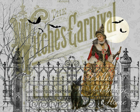 Halloween Witches Carnival Print,  Pillow, Note Cards, Tea Towel