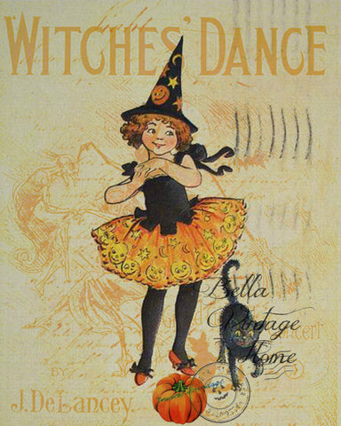 Witches Dance Print,  Pillow, Note Cards, Tea Towel, Digital Download - BELLAVINTAGEHOME
