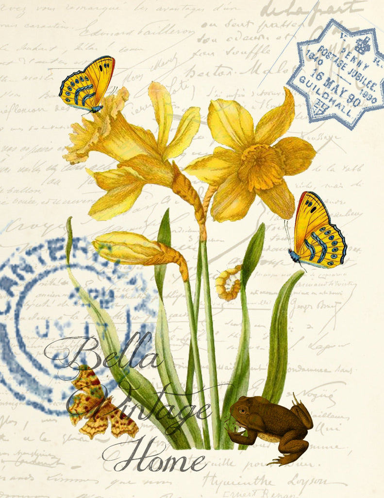Floral Tea  Towel Yellow Daffodil & Butterflies - BELLAVINTAGEHOME