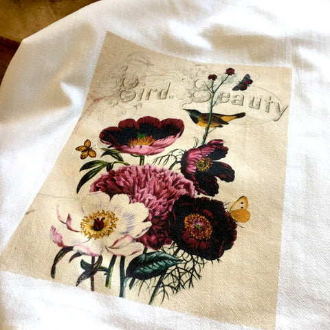 Bird Tea Towel Finch with Anemone - BELLAVINTAGEHOME