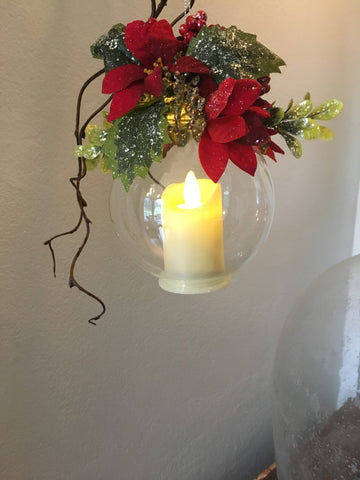 Ornament- Poinsettia Glass Ball Candle