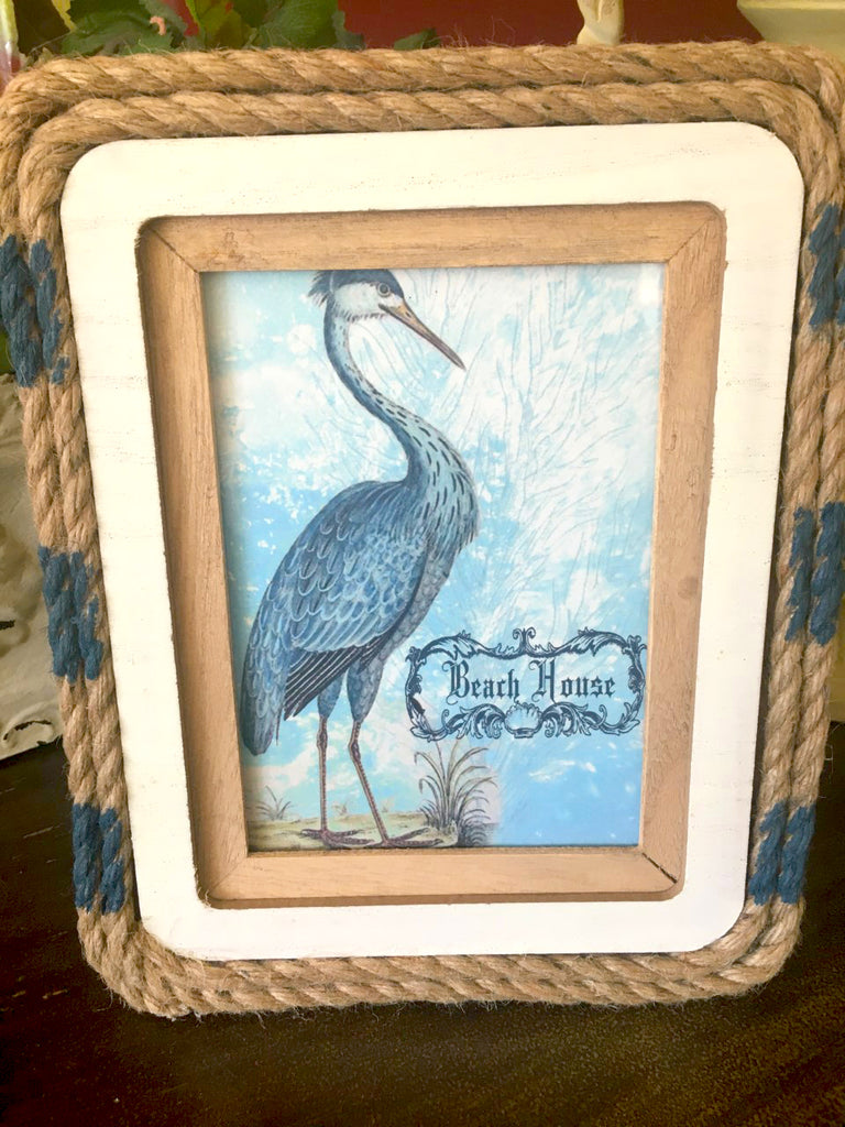 Frame  Wood and Rope  with Print - BELLAVINTAGEHOME