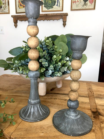 Beaded and Grey Metal Candle  Sticks - BELLAVINTAGEHOME