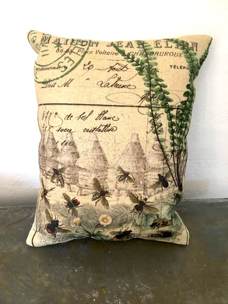 Botanical Bee Skeps and Fern Print,  Pillow, Note Cards, Tea Towel, Digital Download - BELLAVINTAGEHOME