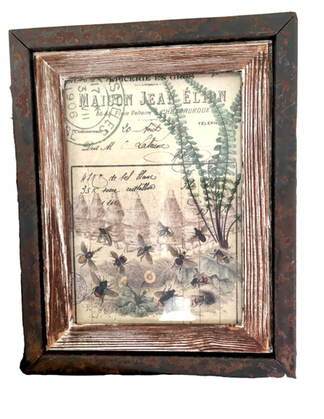 Rusted Metal and Wood Frame with Print - BELLAVINTAGEHOME