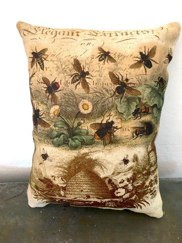 Bees & Skep Accent Pillow - BELLAVINTAGEHOME