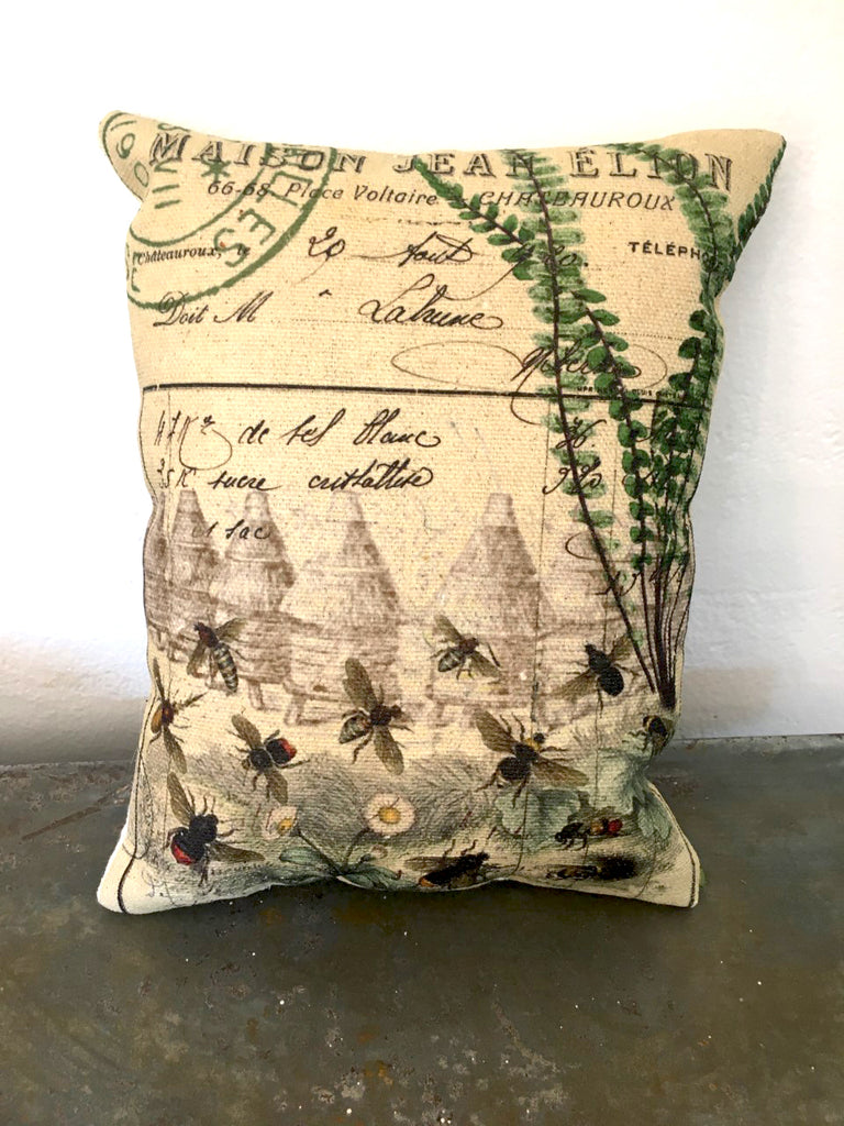 Bee Skeps  & Fern  Accent Pillow - BELLAVINTAGEHOME