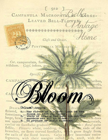 Botanical   Bloom Bell Flower Print, Pillows Note Cards, Tea Towel, Digital Download - BELLAVINTAGEHOME