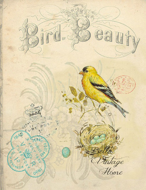 "Bird Tea Towel Yellow Finch ""Bird Beauty"""