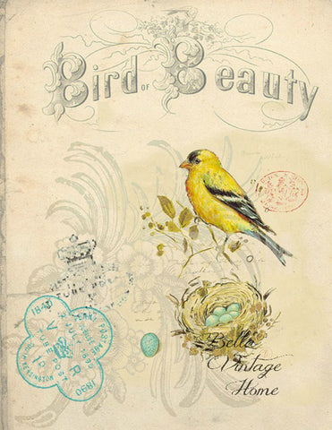 "Bird Tea Towel Yellow Finch ""Bird Beauty"" - BELLAVINTAGEHOME"