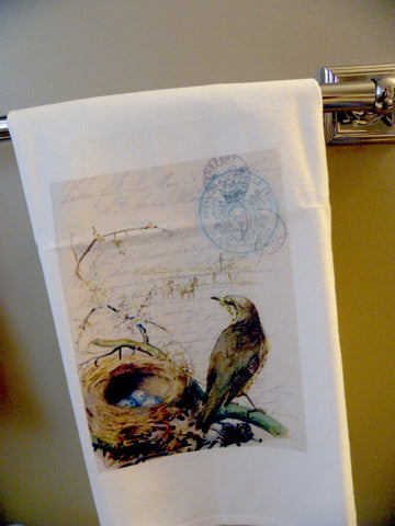 Bird Tea Towel Bird with Nest