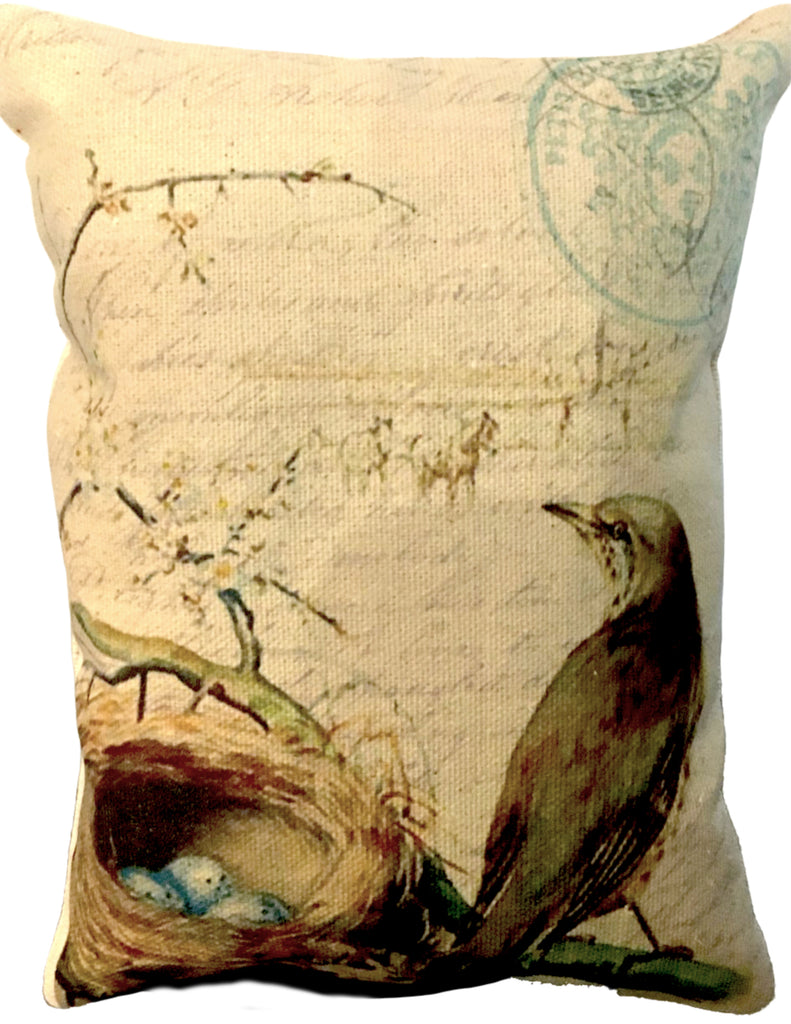 Bird and Nest Accent Pillow - BELLAVINTAGEHOME
