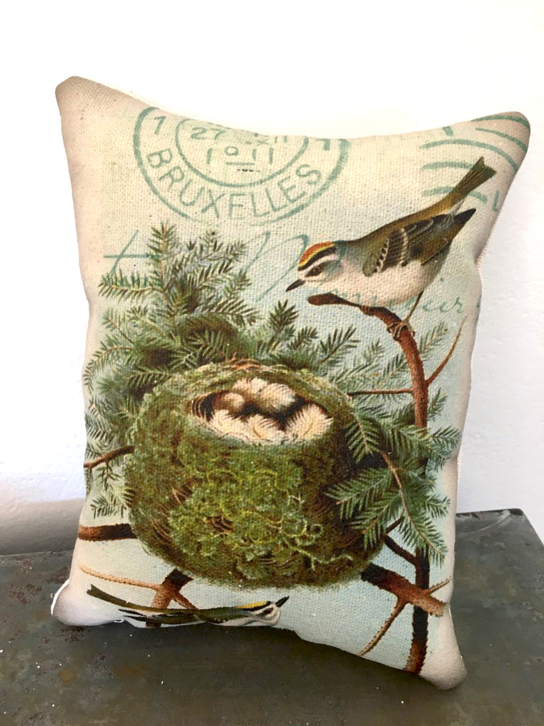 Bird with Nest and Pine  Accent Pillow - BELLAVINTAGEHOME